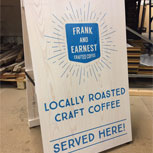 Reversible Wooden A Board advertising locally brewed coffee