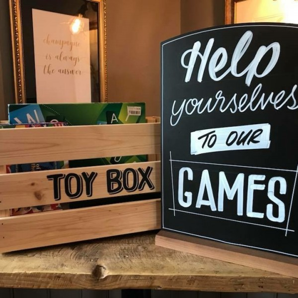 Chalkboards used with a games box