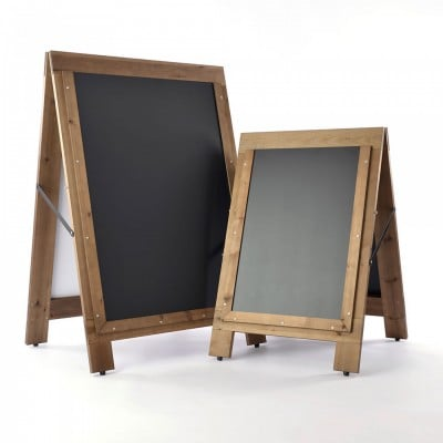 A-boards with chalkboard pavement signs