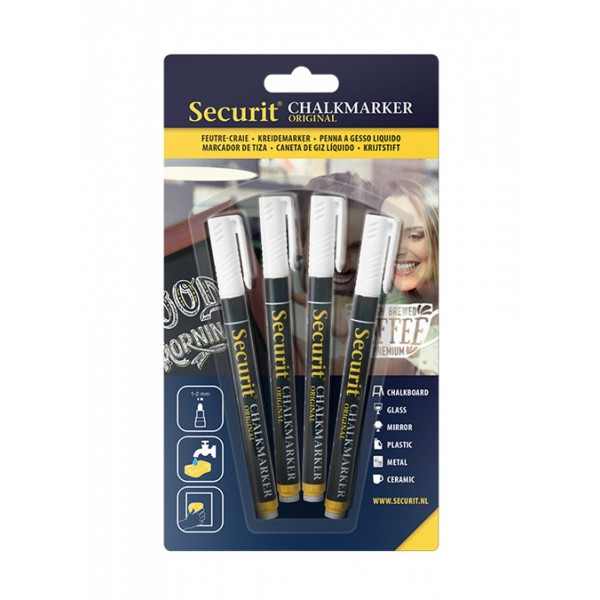 Securit® Small Chalk marker / Chalk Pens: Pack of 4