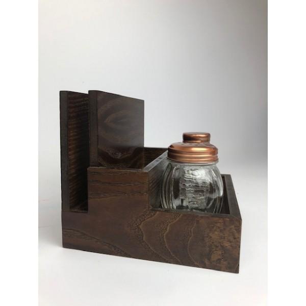 Three Compartment Wooden Menu Caddy - Condiment Holder