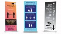Social distancing popup banners