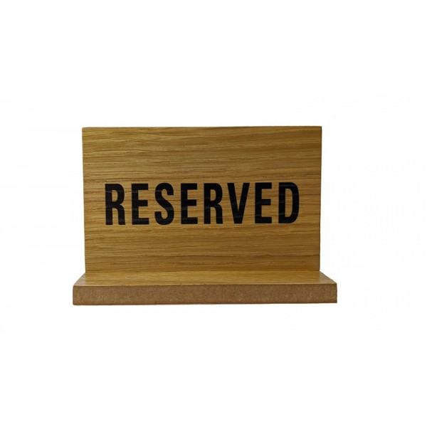Wooden Table Reserved Sign