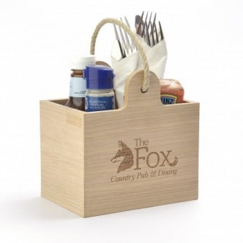 Wood engraving on condiment holder for brand awareness
