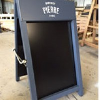 A-Board with fixed chalkboard boards