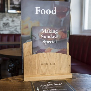 Majisign tiered menu holder for separation of menus and offers