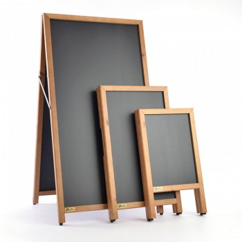 Majisign's standard wooden a-board with rubber feet and chalkboard boards
