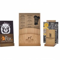 A selection of wooden menu holders
